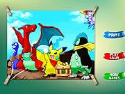 Pikachu Copii de Colorat  Pokemon